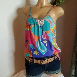 Trina Turk multi colored 100% silk Tank Top Size M